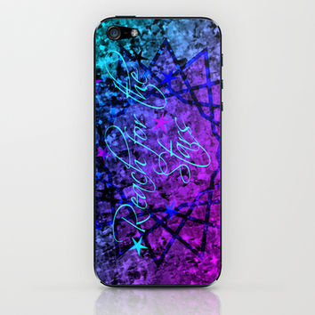 REACH FOR THE STARS Bold Midnight Blue Purple, Galactic Stars Space Abstract Fine Art Painting iPhone & iPod Skin by EbiEmporium