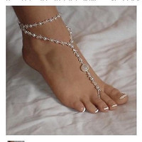 Stretchy Sexy translucent white faux pearl foot jewelry perfect for beach wedding or as barefoot sandal. BONUS: 1 free pearl white toe ring