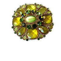 Vintage Brooch Pin Green Pin Fashion Jewelry Green Rhinestone Brooch Vintage Pin Vintage Rhinestone Pin