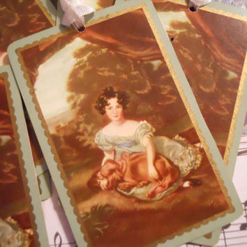 French Antique Girl in Blue Antebellum Tags for by ZoeAmaris