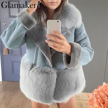Glamaker Grey patchwork leather suede jacket Women autumn streetwear chic winter coat women Faux fur coat female teddy coat 2018