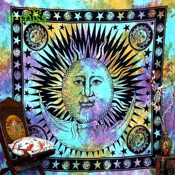 U-miss Colorful Psychedelic Celestial Indian Sun Wall Hanging Throw Bohemian Decor Door Curtain Mandala Hippie Playa Tapestry
