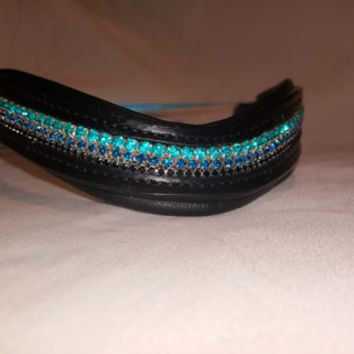 Bling English Curved Cob Browband Aqua, Peacock Blue and Black Rhinestones