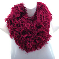 Shaggy Loop Scarf w/ Knitted Inside Surface - Burgundy Color: Burgundy