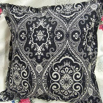 "BLACK SPECTATOR fabric from Ralph Lauren - Pair Custom Made Pillow Shams - 18"" x 18"""