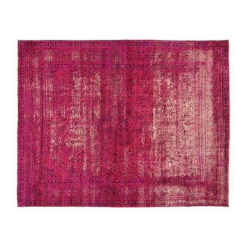 Pre-owned Pink Overdyed Floral Wool Rug - 10'' x 12''