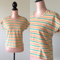 Vintage Striped Top Tara-One T-Shirt Cap Sleeves Women's Blouse Medium Small 1980s