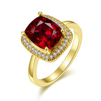 Gold Plated Main Ruby Red Cocktail Ring