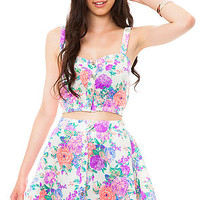 Reverse Two Piece Set Floral in Multi