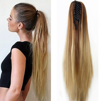Women 20 Claw Clip Ombre Long Straight Ponytail Hair Extensions Synthetic Wig Hairpiece Hairstyle