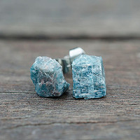 Raw Apatite earrings with surgical steel post studs Raw Uncut Blue Gems