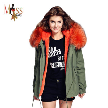 2016 women's army green Large raccoon fur collar hooded coat parkas  outwear 2 in 1 detachable lining winter jacket brand style