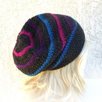 Bisexual Pride colors Slouchy Beanie Crochet Slouch Hat Charcoal gray Magenta pink purple blue Happy Mens Womens Girl Teen Gay pride LGBT