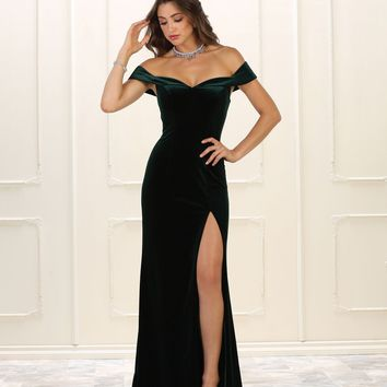 Long Formal Prom Dress Evening Velvet Off Shoulder
