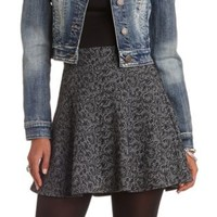 High-Waisted Jacquard Skater Skirt by Charlotte Russe - Black Combo