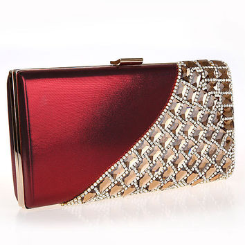 Woman Evening Bag Women Diamond Rhinestone Clutch Crystal Day Clutch Wedding Purse Party Banquet Black/Gold Silver SMYCWL-AA0039