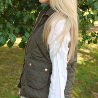 Quilted Equestrian Vest - Olive