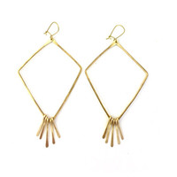 Large Brass Fringe Diamond Hoops
