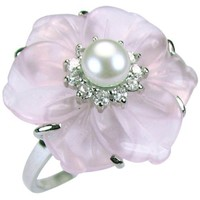 Simulated Rose Quartz Cubic Zirconia Flower Cultured Pearl Rhodium Plated Silver Ring