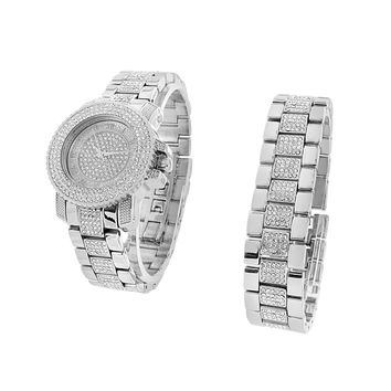 Silver Tone Watch Bracelet Set Lab Diamond Iced Out