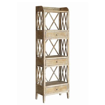 Carlisle Rustic Wood 3 Drawer Tall Storage Etagere Shelf By Crestview Collection Cvfzr1712
