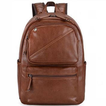 Leather Air Cushioned Backpack with Headphone Outlet