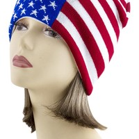 American Flag Go USA Patriotic Proud to Be American Knit Beanie Hat