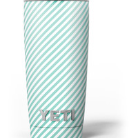 The Mint and White Vertical Stripes Yeti Rambler Skin Kit