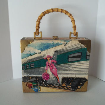 Vintage Cigar Box Purse , Lady of  the Train ,  Beaded Cigar Box Purse