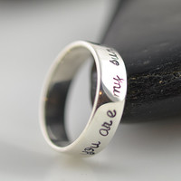 Personalized ring, womens Jewelry, you are my sunshine,Hand Stamped Ring, Sterling silver ring