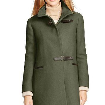 Women's Lauren Ralph Lauren Funnel Neck Basket Weave Coat with Knit Cuffs,
