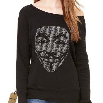 V for Vendetta / Guy Fawkes Mask Slouchy Off Shoulder Oversized Sweatshirt