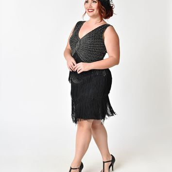 Unique Vintage Plus Size 1920s Black & Silver Beaded Renee Fringe Cocktail Dress