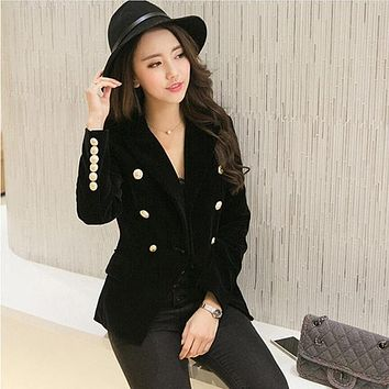 LXUNYI Women's Premium Quality Double Breasted Velvet Blazer with Gold Tone Buttons
