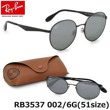 Kalete Authentic RAY-BAN RB3537 002/6G Black/Silver Mirror Lenses 51mm Sunglasses