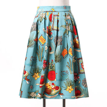 Fashion Skirts Womens 2017 Knee Length Midi High Waist 50s 60s Retro Vintage Summer Skirt Saias Floral Print Adult Tutu Skirt