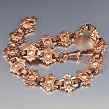 Charming 18K Rose Rolled Gold Watch Chain Bracelet