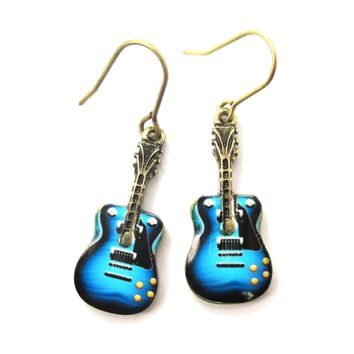 Electric Guitar Shaped Music Themed Dangle Earrings in Blue | DOTOLY