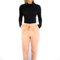Keeping Up Almond Pleated Waist Detail Pants