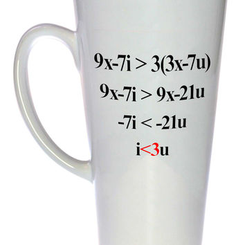 Romantic Algebra Love i<3u Coffee or Tea Mug, Latte Size