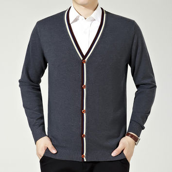 Men Knit Tops Casual Sweater Jacket Wool V-neck Men's Fashion Bottoming Shirt [6542514307]