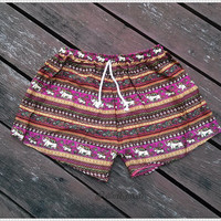 Boho Shorts Hippie Hipster Clothing Aztec Ethnic Bohemian Ikat Tank Handmade Colorful Unique Bikini Sleepwear Nightwear Sexy Cute Girls