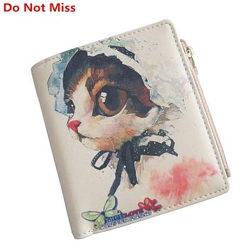Do Not Miss Lovely Female Purse High Quality Leather Short Hasp Clutch Women Cartoon Wallet Coin Zipper Pocket Small Cat Wallet