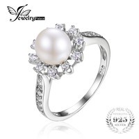 JewelryPalace Snowflake 7mm Freshwater Cultured Pearl Halo Enagement Ring 925 Sterling Silver Ring  Fashion Women Fine Jewelry