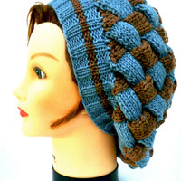 Slouchy Knit Beanie - Entrelac Tam In Starlight Blue And Nutmeg Heather - Women's Wool Hat - Winter Fashion - Knit Accessories - Warm Beret