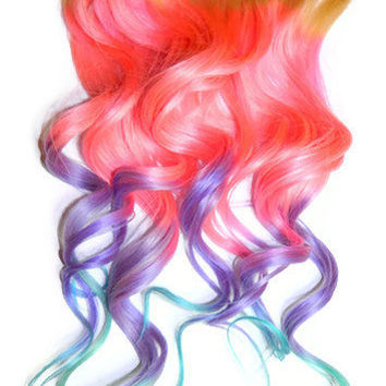 You Choose Roots Cotton Candy Queen Pastel Mix Human Hair Extensions Clip In Extensions