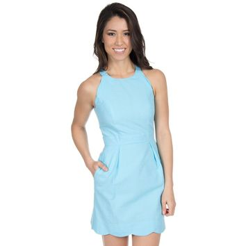 The Landry Solid Seersucker Dress in Powder Blue by Lauren James