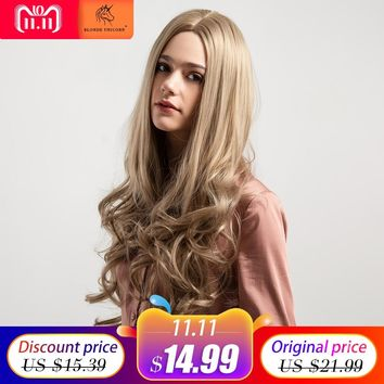 Blonde Unicorn Synthetic Wig 26 Inch Long Wavy Curly Hair 5 Colors Pink Grey Brown Wig For Black/White Women  Cosplay Hair Wig
