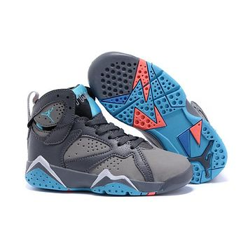 Nike Jordan Kids Air Jordan 7 Retro Gray/Blue Kids Sneaker Shoe US 11C - 3Y