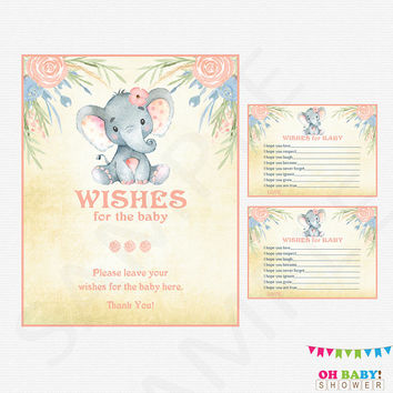 Wishes for Baby Printable, Elephant Baby Shower Girl, Wishes for Baby, Pink Floral Watercolor Rustic Printables, Instant Download, ELWP